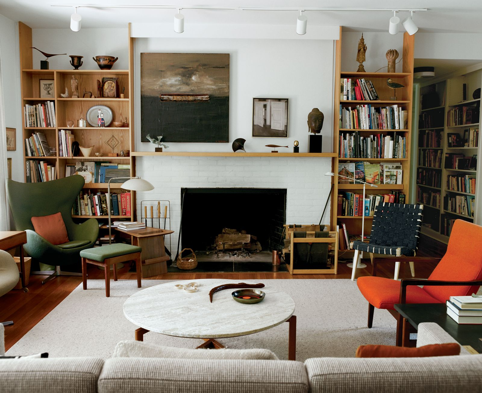Modern Scandinavian Fireplace: Risom-jens-living-room
