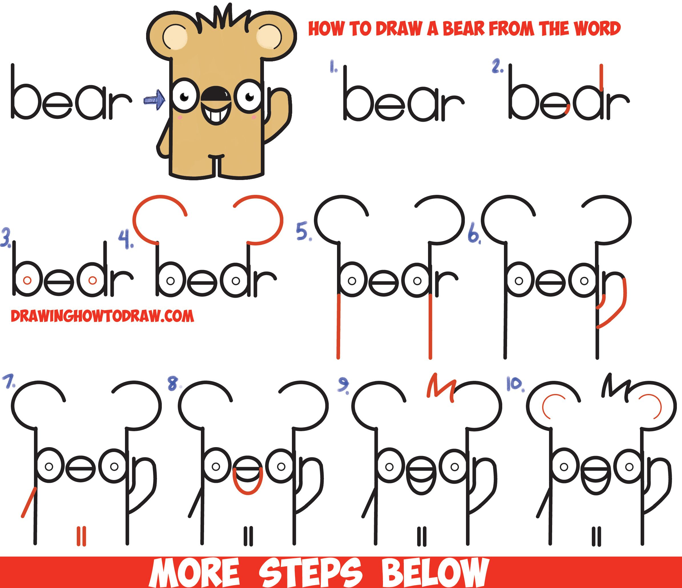 How To Draw Cute Cartoon Kawaii Bear From The Word Bear Easy Step By Step Drawing Tutorial For Kids How To Draw Step By Step Drawing Tutorials Word Drawings Drawing