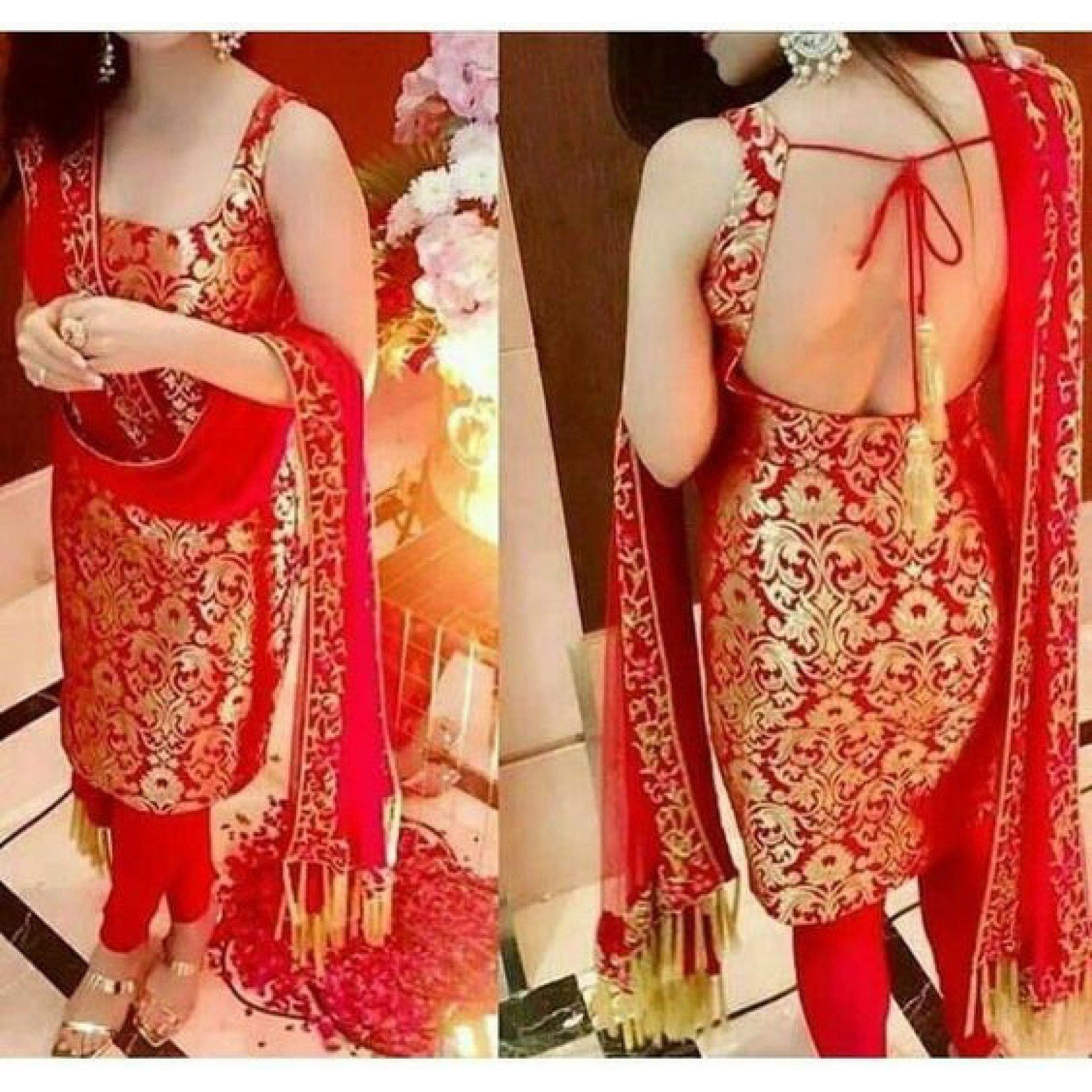 5d643bf032 Brocade Self Design Un-Stitched Straight Suit Dress Material (Red ...