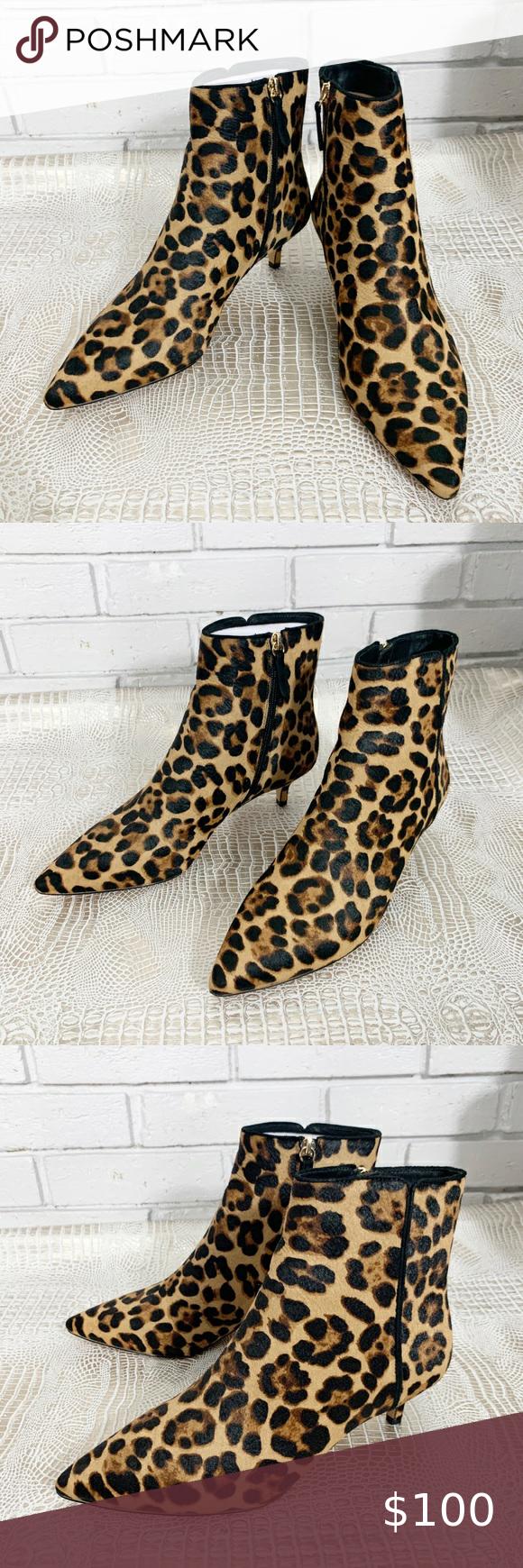 J Crew Fiona Kitten Heel Ankle Boots In Leopard In 2020 Kitten Heel Ankle Boots Heeled Ankle Boots Ankle Boots