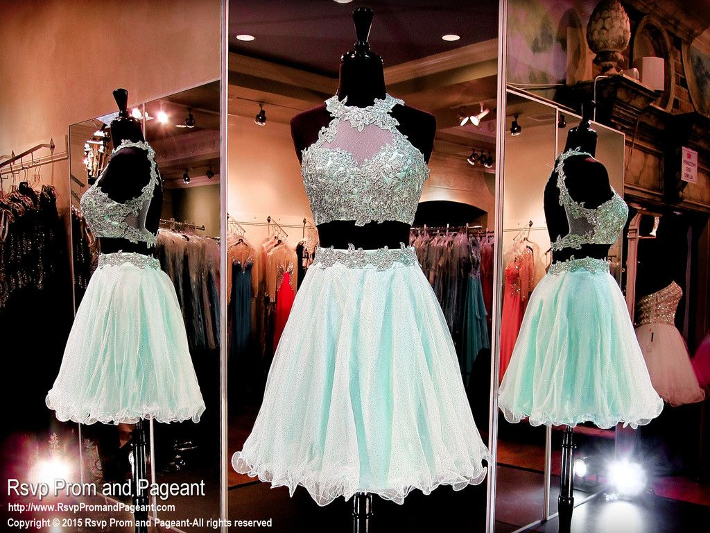 Mint Two Piece Homecoming Dress 115ec0153680 Atlanta Prom Dresses Atlanta P 2 Piece Homecoming Dresses Halter Homecoming Dress High Neck Homecoming Dresses