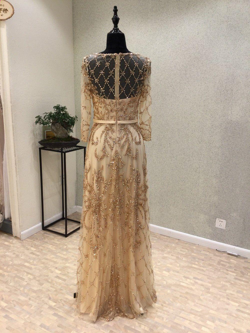 7194e3728f Új Elegáns hosszú estélyi ruha 2018 Scoop hosszú ujjú Floor Hosszú gyöngyös  Tulle Mermaid Party Prom ruhák vestido de festa