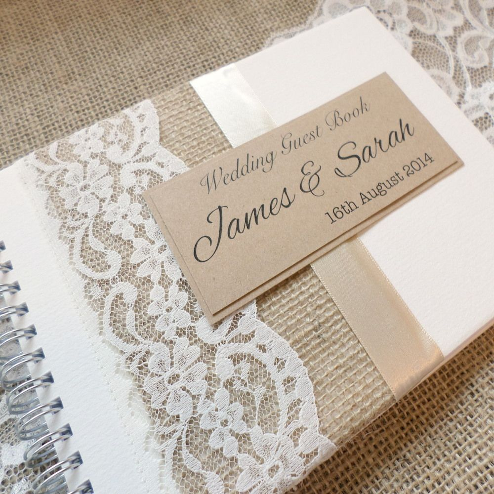 Wedding Guest Book Cover Ideas : Hessian burlap lace handmade wedding guest book rustic