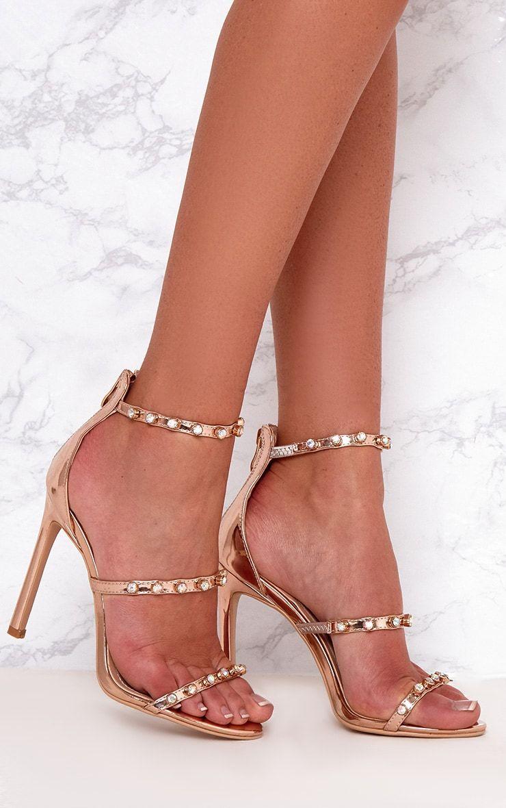 345714a5b2d Rose Gold Diamante Three Strap Heels