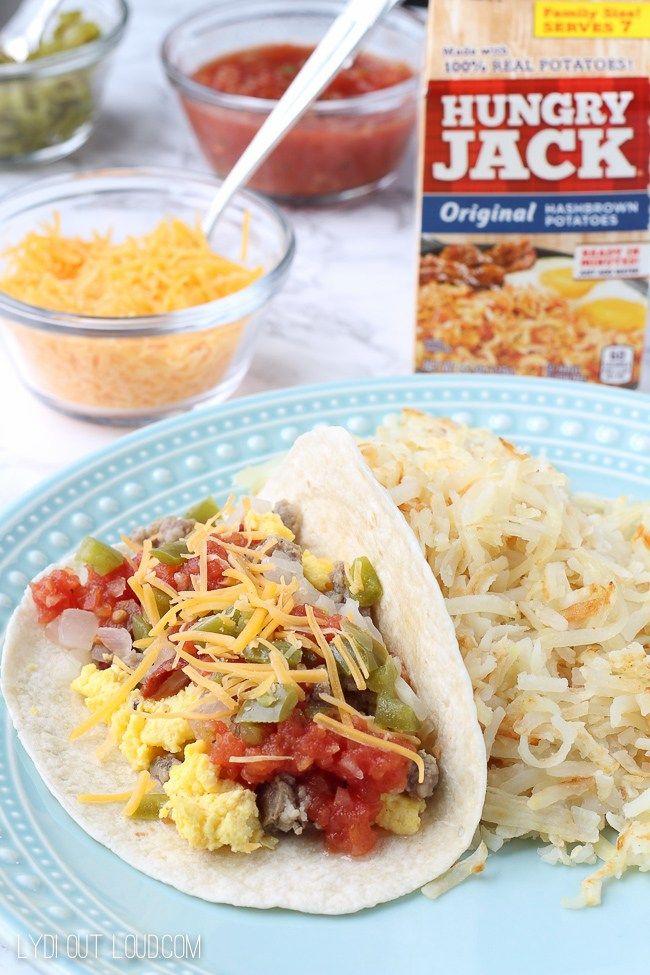 "Taco Tuesday - ""brinner"" (breakfast for dinner) taco bar - yum! #HBforBreakfast #sponsored"