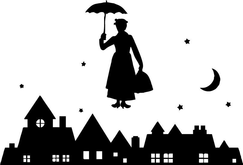 Mary Poppins Silhouette Scene SVG - Go to www svgcoop com to