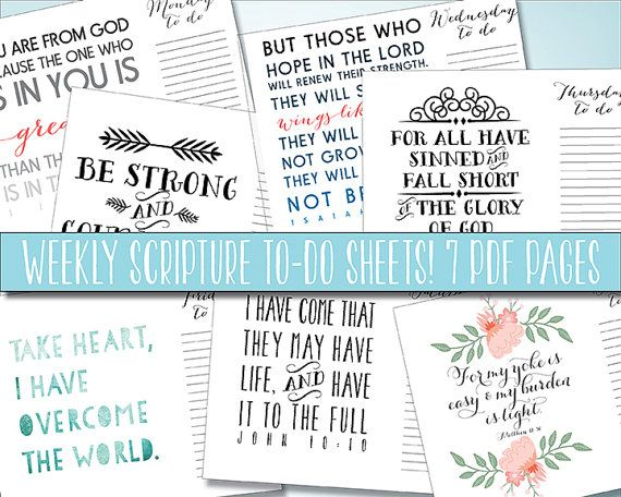 Typography Daily Calendar : Scripture to do list daily printable weekly planner