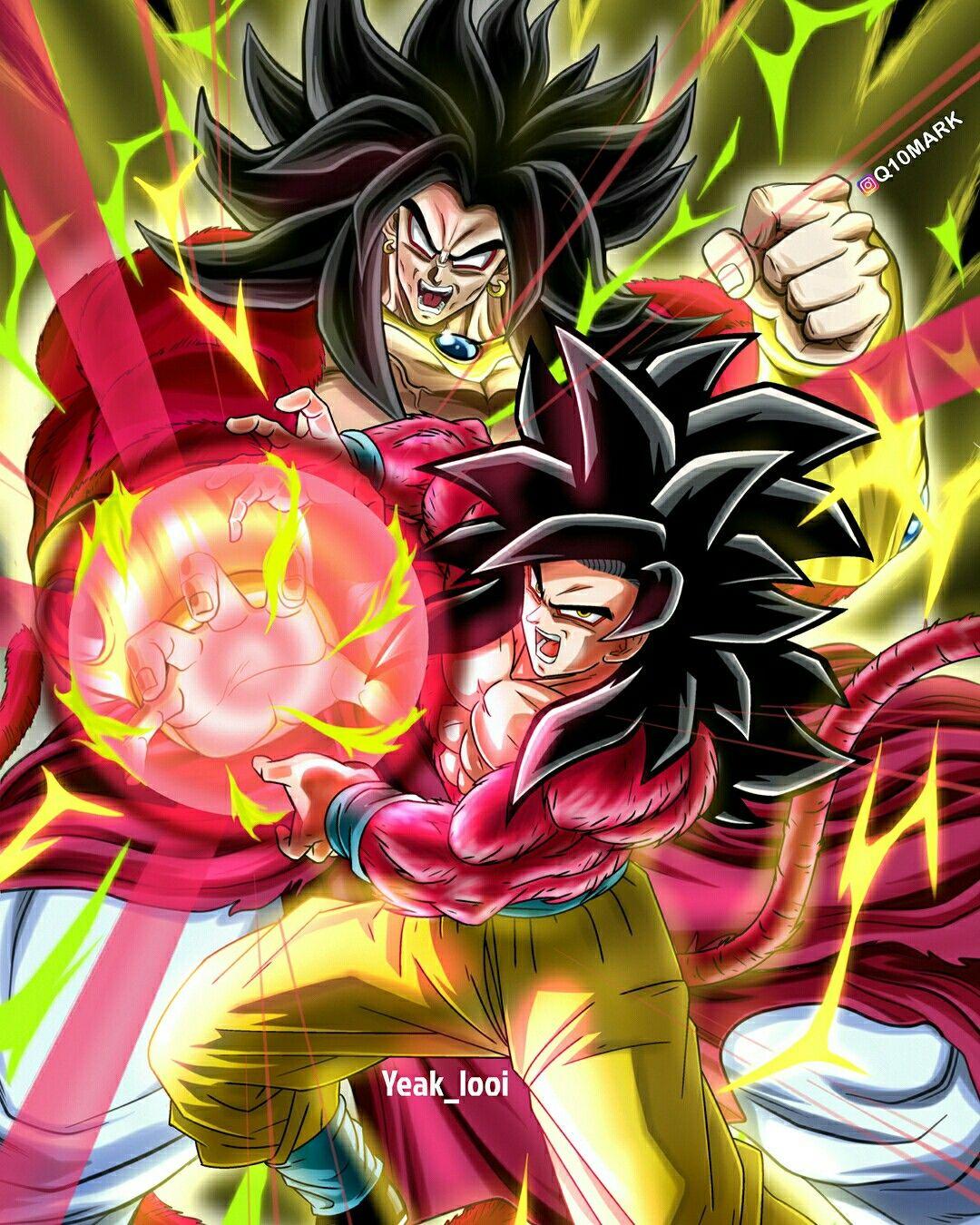 SSJ4 Broly & SSJ4 Goku | Anime & Manga | Dragon ball, Goku ...