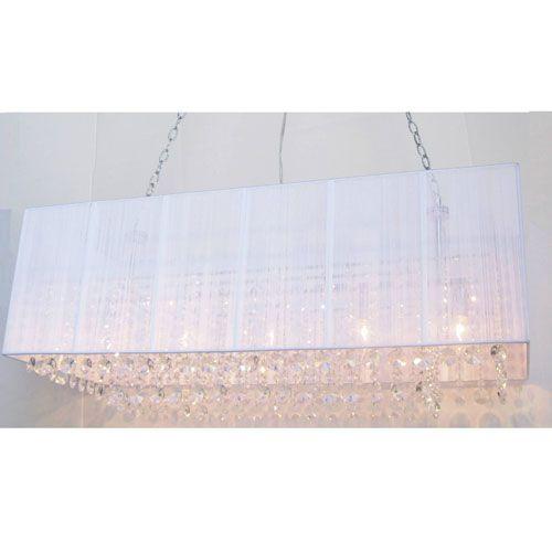 Rovello Five Light Crystal Pendant W/ White Rectangular Shade ...