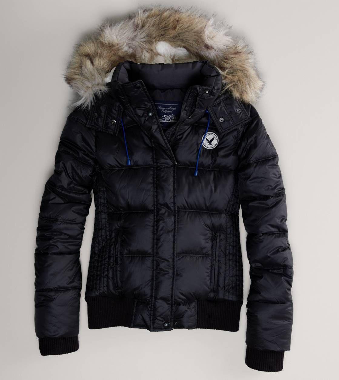 AE Faux Fur Hooded Puffer Jacket Pinterest Puffer