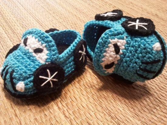 patron zapatitos coche para bebé algodón 100% egipcio crochet ...
