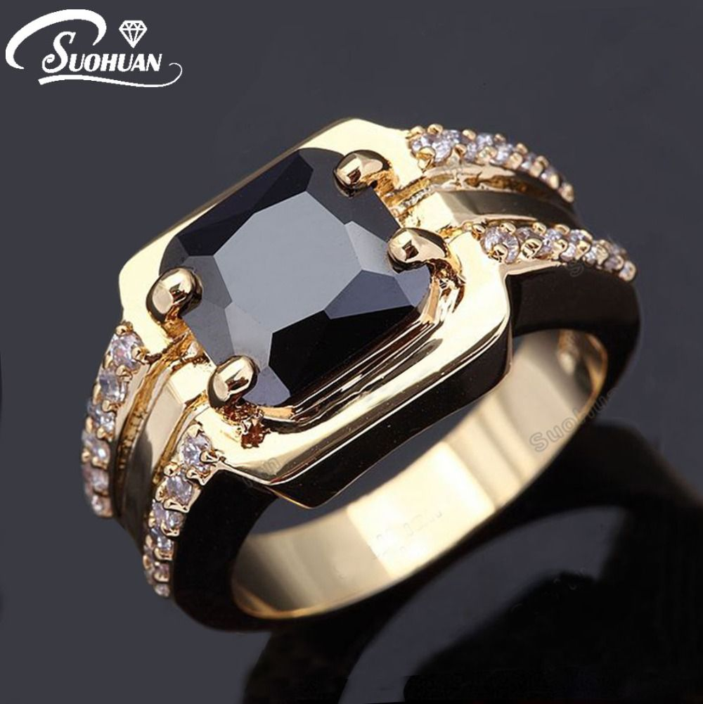 Wholesale male of ring AAA Black Sapphire yellow gold Men Jewelry ...