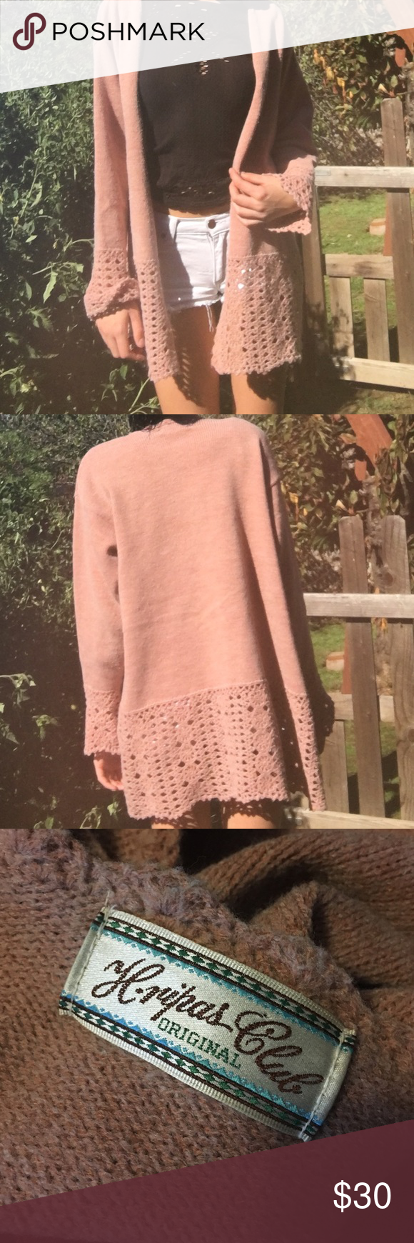 Pink crochet sweater Gorgeous wool rose pink button up cardigan with crochet trim. It can most sizes, I wear an XS for reference and it fits baggy. Listed as free people for exposure, this is a very unique and hard to come by piece. Free People Sweaters Cardigans
