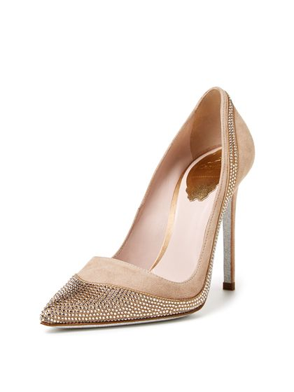 Crystal Accented Pointed-Toe Pump by Rene Caovilla at Gilt