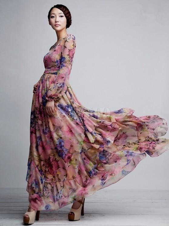ad741deea0 Pink Floral Printed Long Sleeves Chiffon Jewel Neck Maxi Dress ...