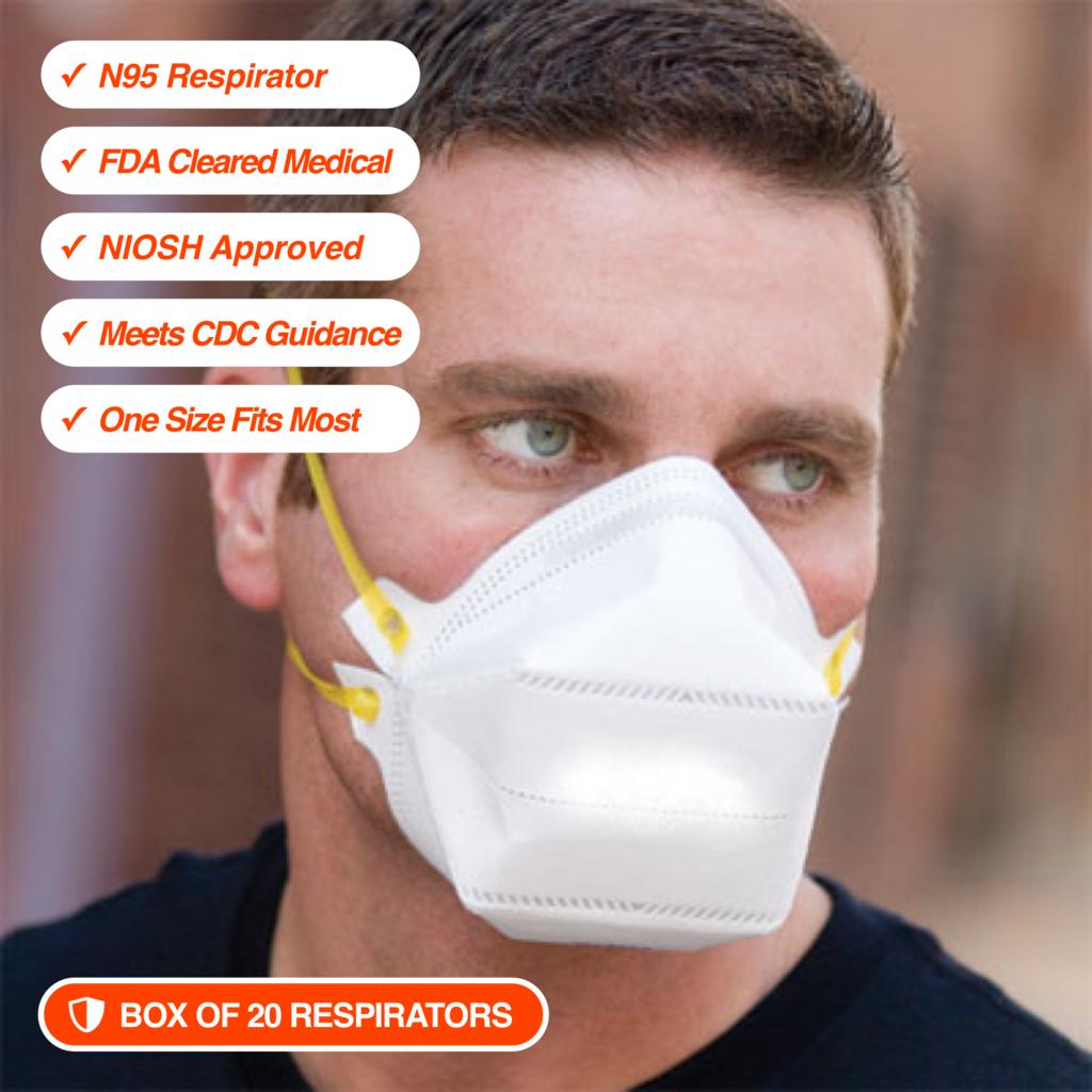 20 N95 Respirators • NIOSH Approved • FDA Cleared in 2020