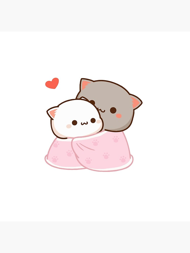 Peach And Goma Cuddling Mochi Peach Cat Throw Pillow By Misoshop In 2021 Cute Anime Cat Cute Bear Drawings Cute Cartoon Images