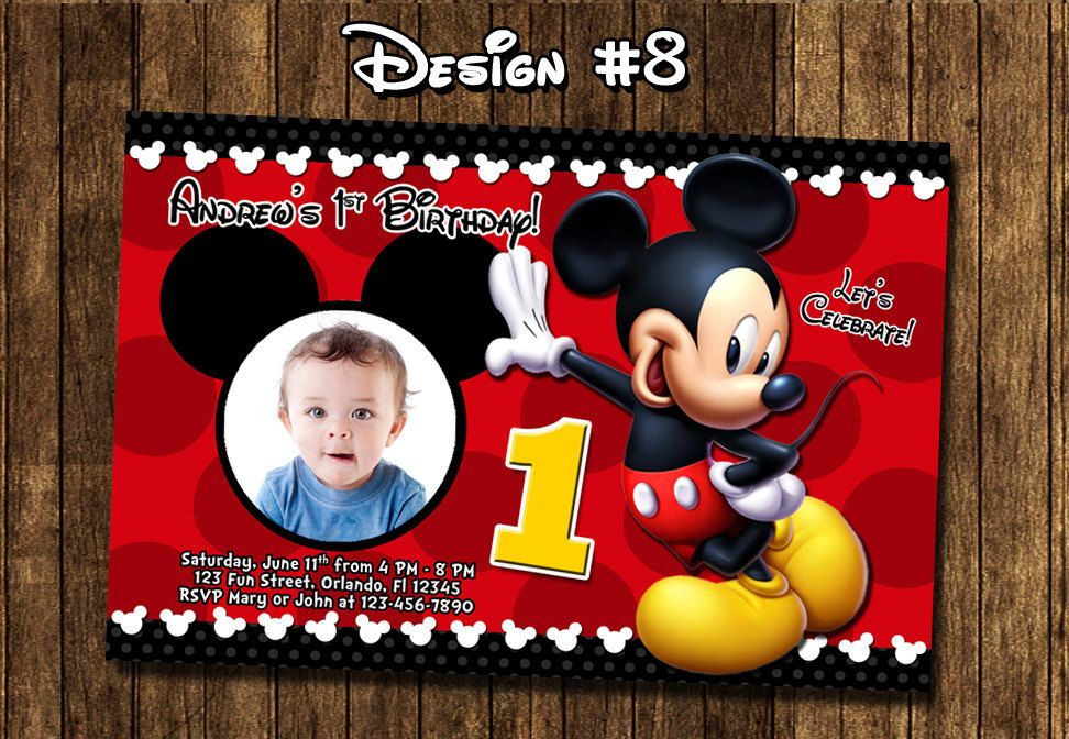 Mickey Mouse Baby First Birthday Party Photo Invitations - Printable ...