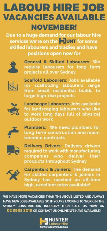 Labour Hire Job Vacancies November Hunter Labour Hire Sydney Jobs Hiring Job Hiring