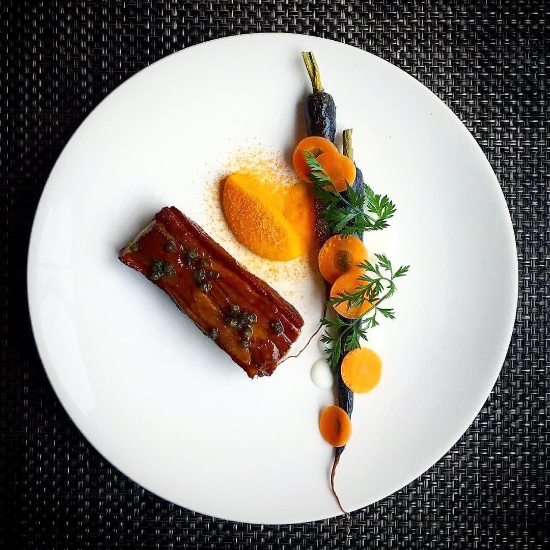 Lamb belly. Salt baked carrot. Anchovy. Caper The art of