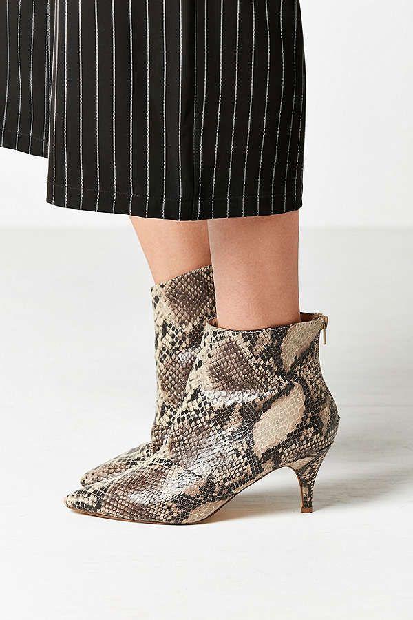 Snakeskin Kitten Heel Ankle Boot Kitten Heel Ankle Boots Heeled