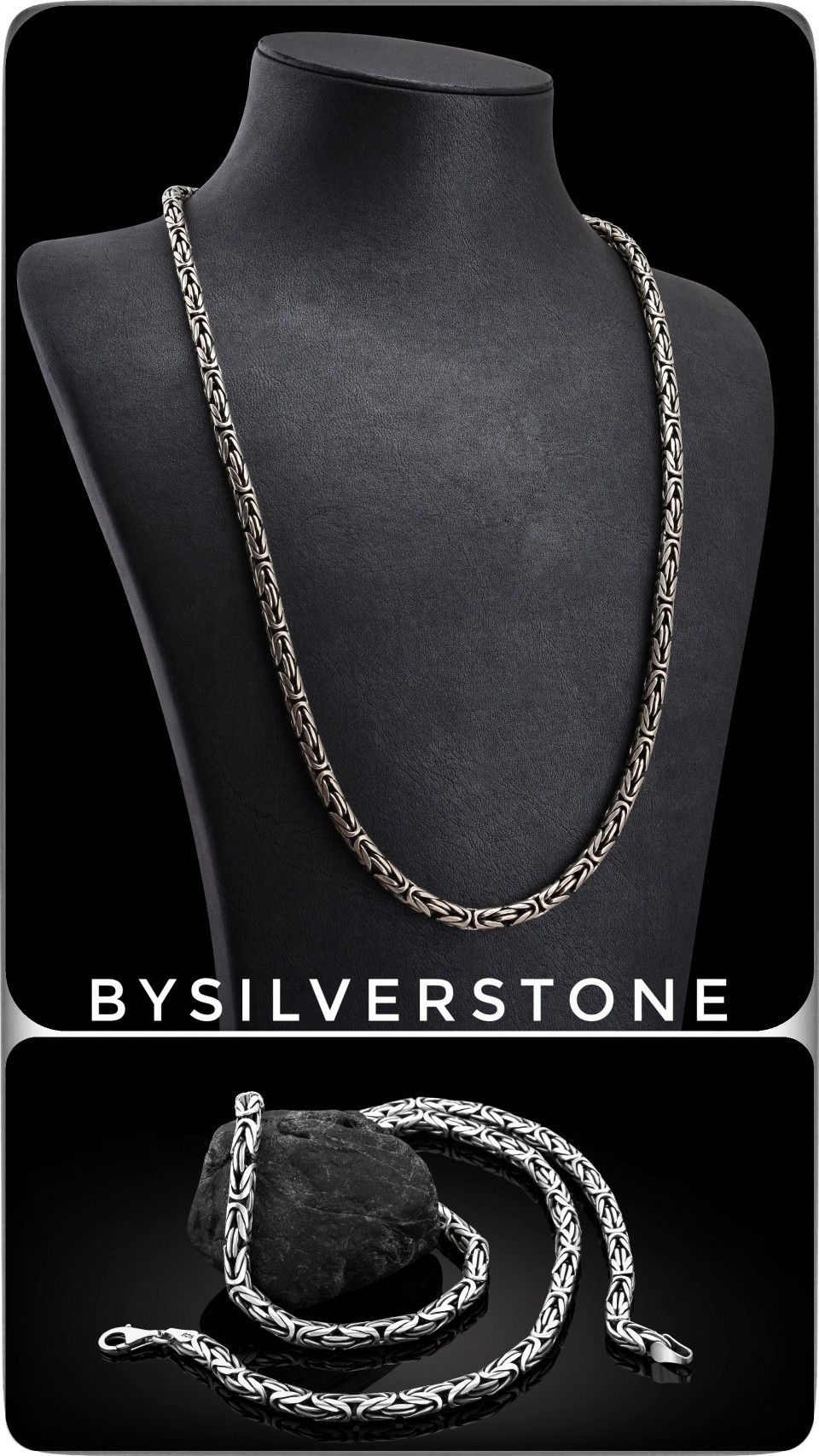 40 Inch SMALL OVAL Link Oxidized Sterling Silver Chain