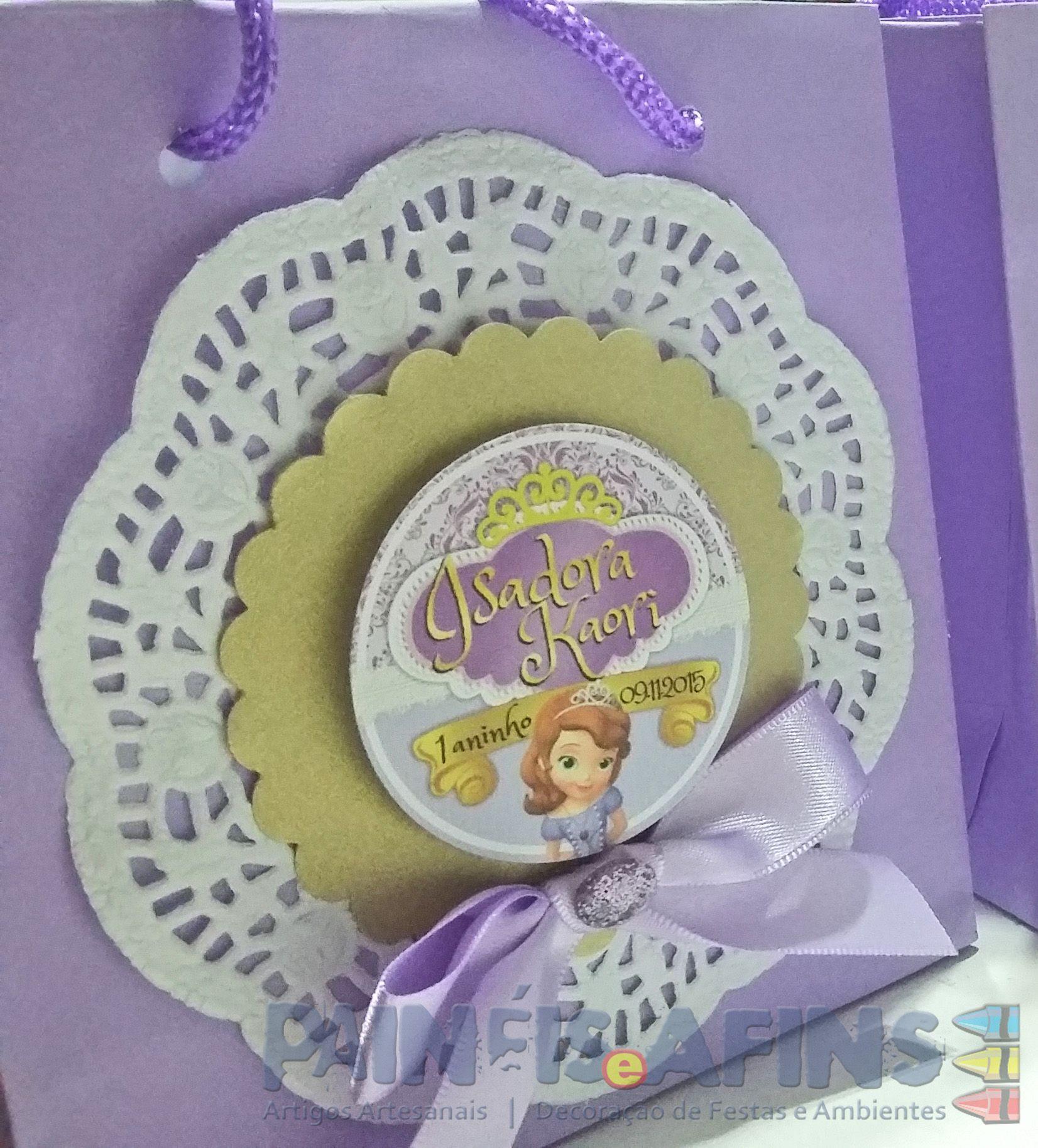 Sacolinha personalizada #PrincesinhaSofia #SofiaTheFirst #papelariapersonalizada