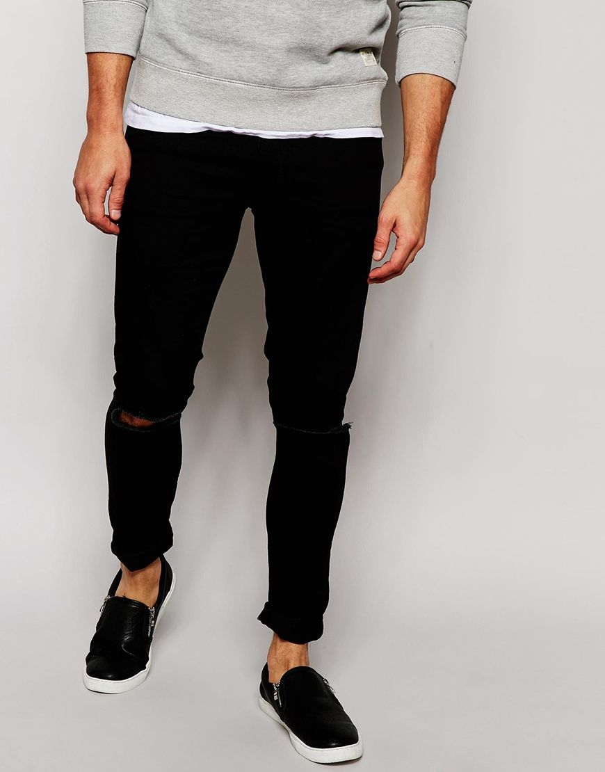 Stretch Slim Jeans With Knee Rips In Black - Black Asos Online Shop Discount Low Price Fee Shipping Limited Edition Cheap Online OLcpZL