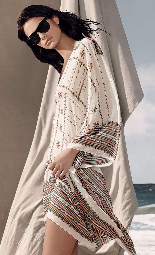 Summer Beach Look Tribal Pattern Print Mini Caftan Dress Bcbg Max Azria Resort 2017 Resort15 Fashion
