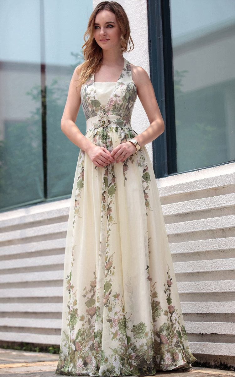 Offwhite halter floral print floor length gowns evening dress