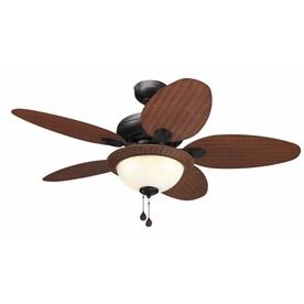 Shop harbor breeze chalmonte dark oil rubbed bronze downrod or close mount  indoor/outdoor ceiling fan with light kit and