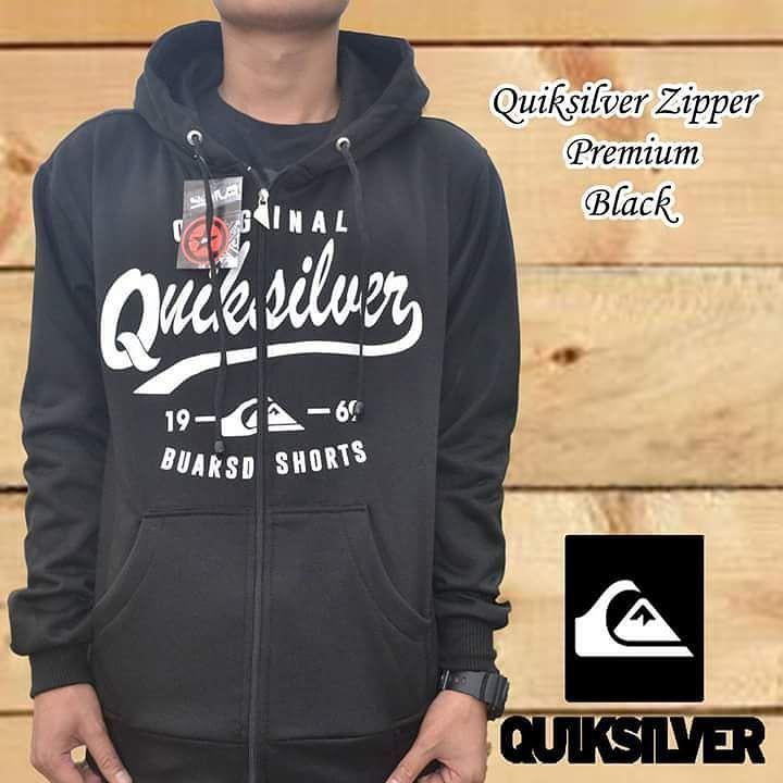 Real keren Quiksilver Zipper premium Black Bahan fleece