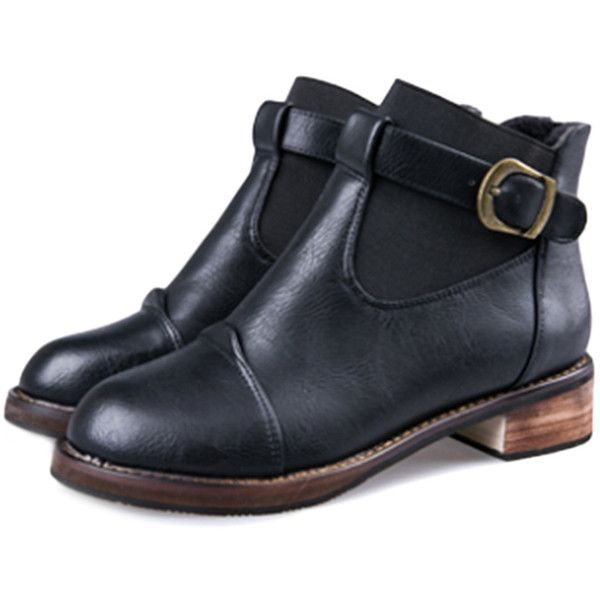 Buckled Fully-lined Slip-on Ankle Boots ($42) ❤ liked on Polyvore featuring shoes, boots, ankle booties, buckle ankle boots, ankle bootie boots, buckle bootie, ankle boots and slip on booties