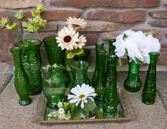 Instant Collection 12 Vintage Green Glass Vases For Weddings And