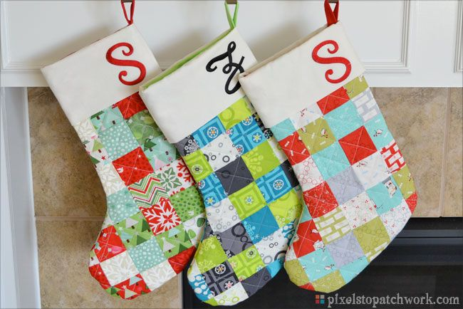 Quilted Christmas Stockings by From Pixels to Patchwork. Includes ...