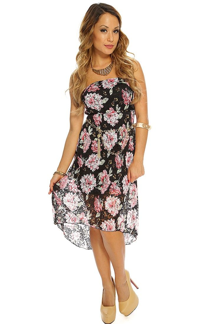 Black floral strapless high low hem cute sun dress sexy clothing