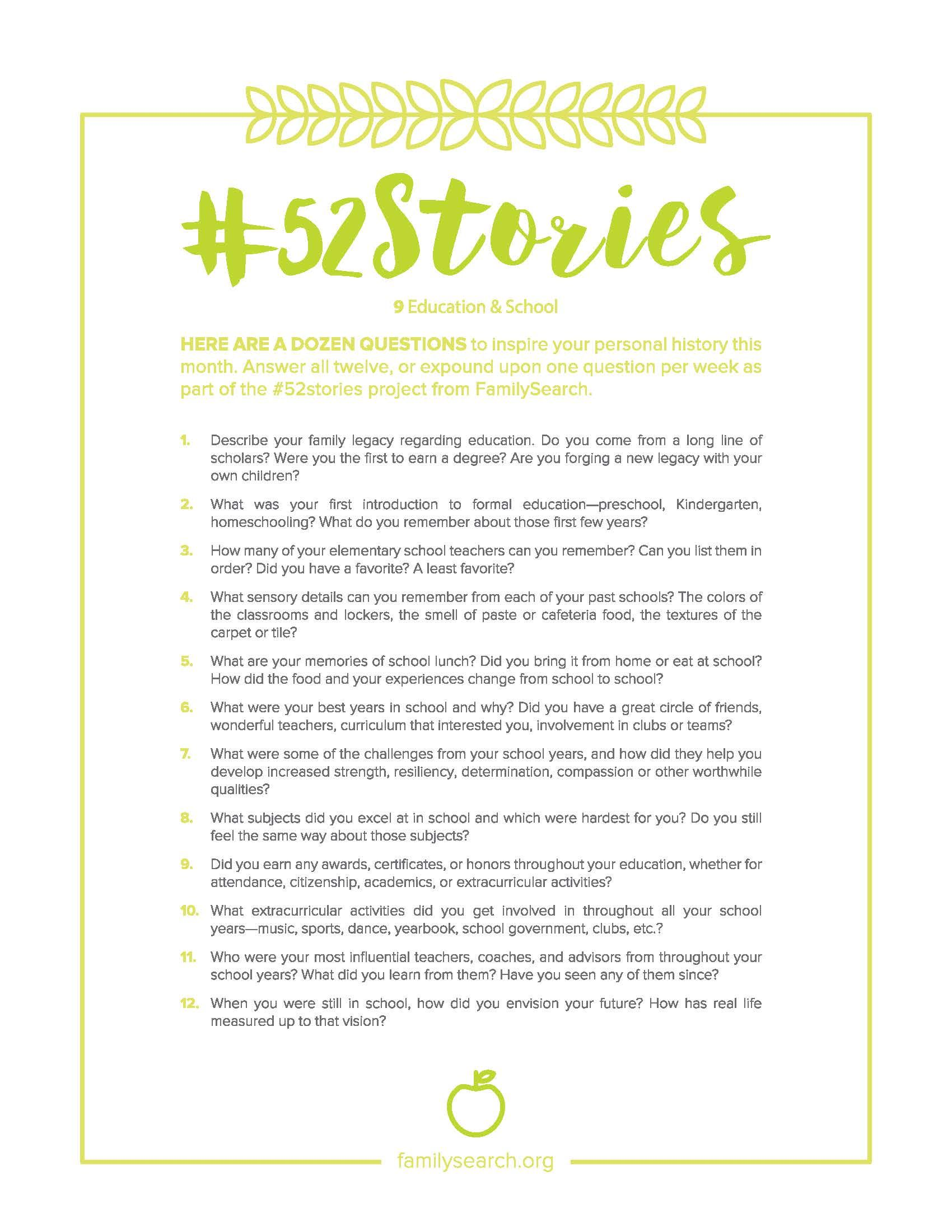 52stories Printables Familysearch With Images