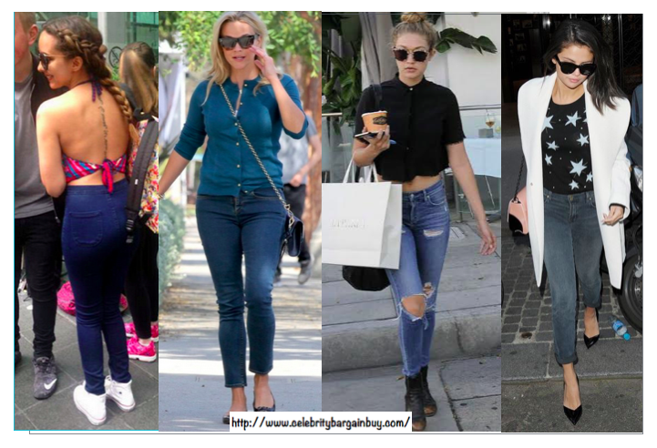 Celebrities like Reese, Jade , Gigi and Selena wearing brands like Draper James, American Apparel, A Gold E, J Brand...Prices start from $50 USD. Some are on SALE. Have a look at my blog post