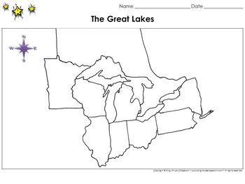 Great Lakes Map Blank Full Page King Virtues Classroom - Editable map of us and great lakes for kids