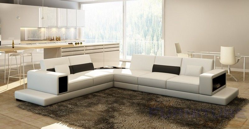 VIG Furniture 6102 Modern White Leather Sectional Sofa VGEV SP