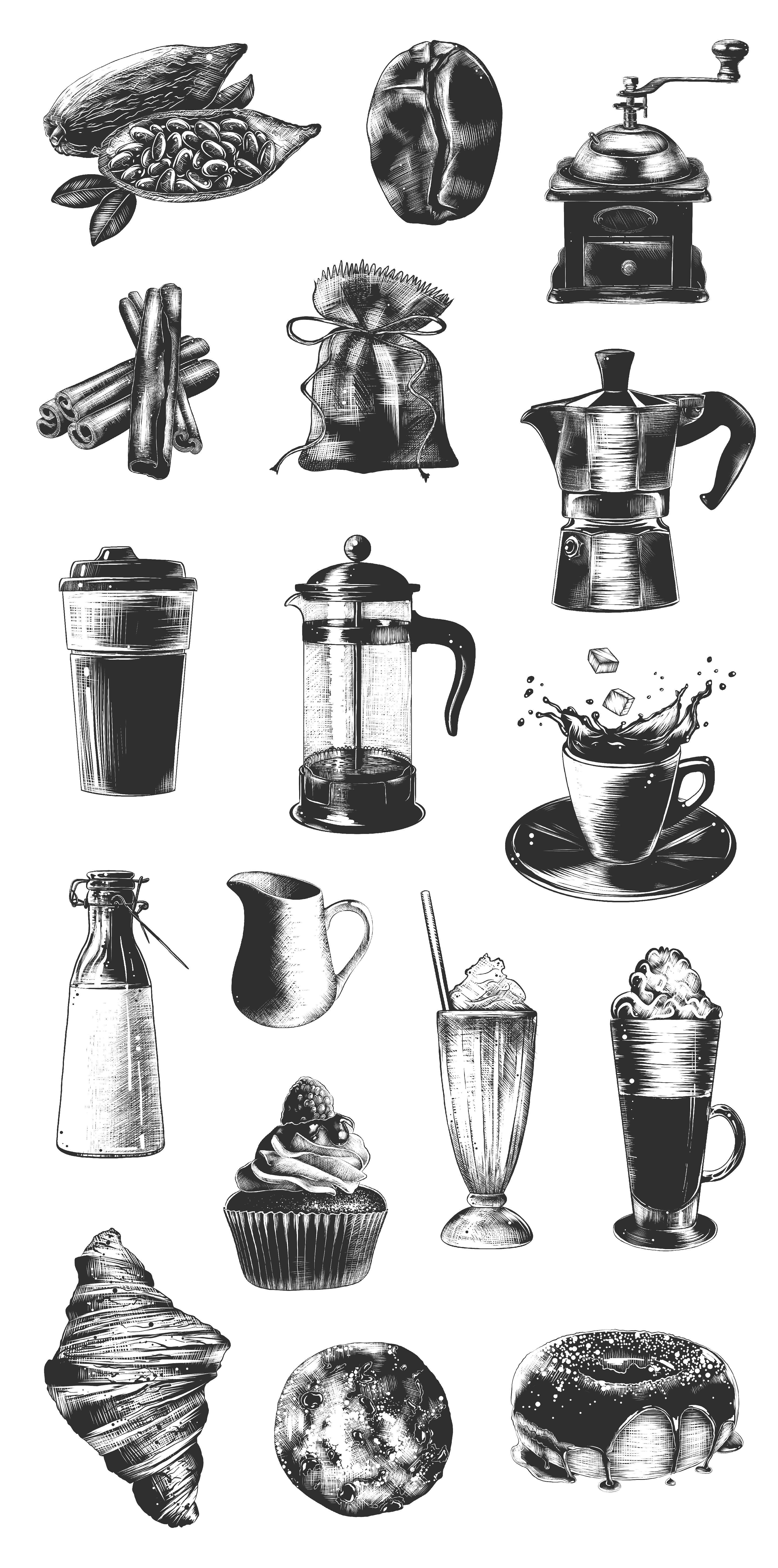 Coffee hand drawn sketch collection Кофе, Кафе