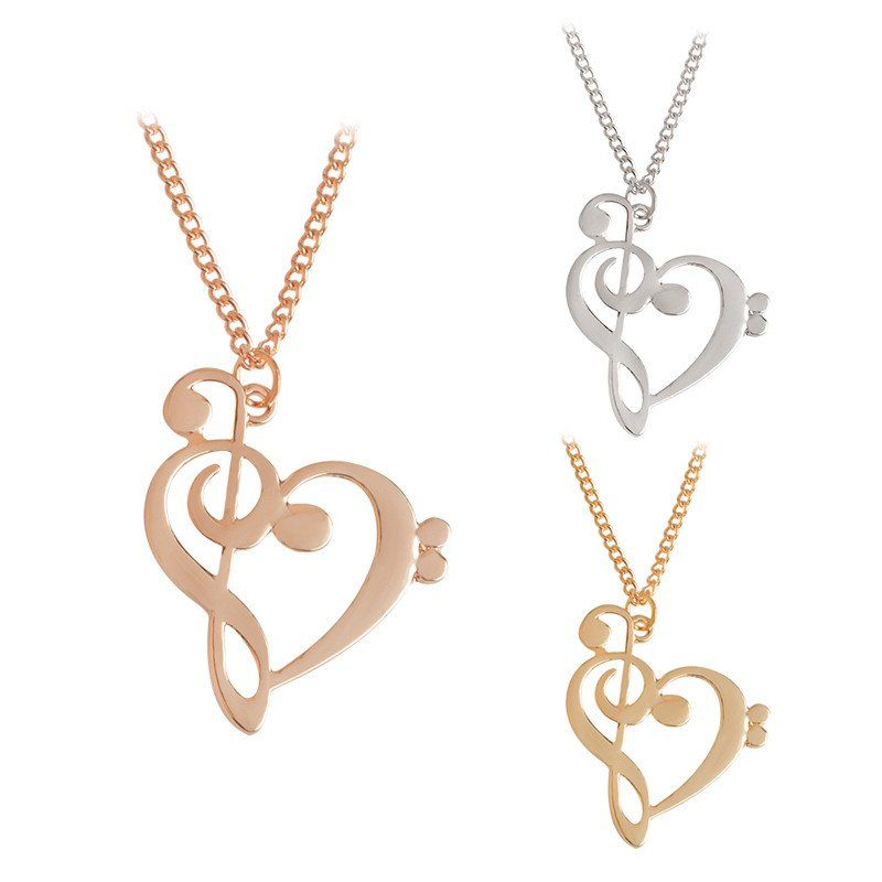 Minimalist Hollow Heart Shaped Musical Note Pendant Necklace Music
