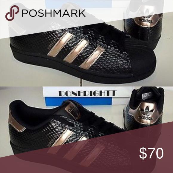 Adidas negro y oro rosa oro zapatilla zapatillas tamaño