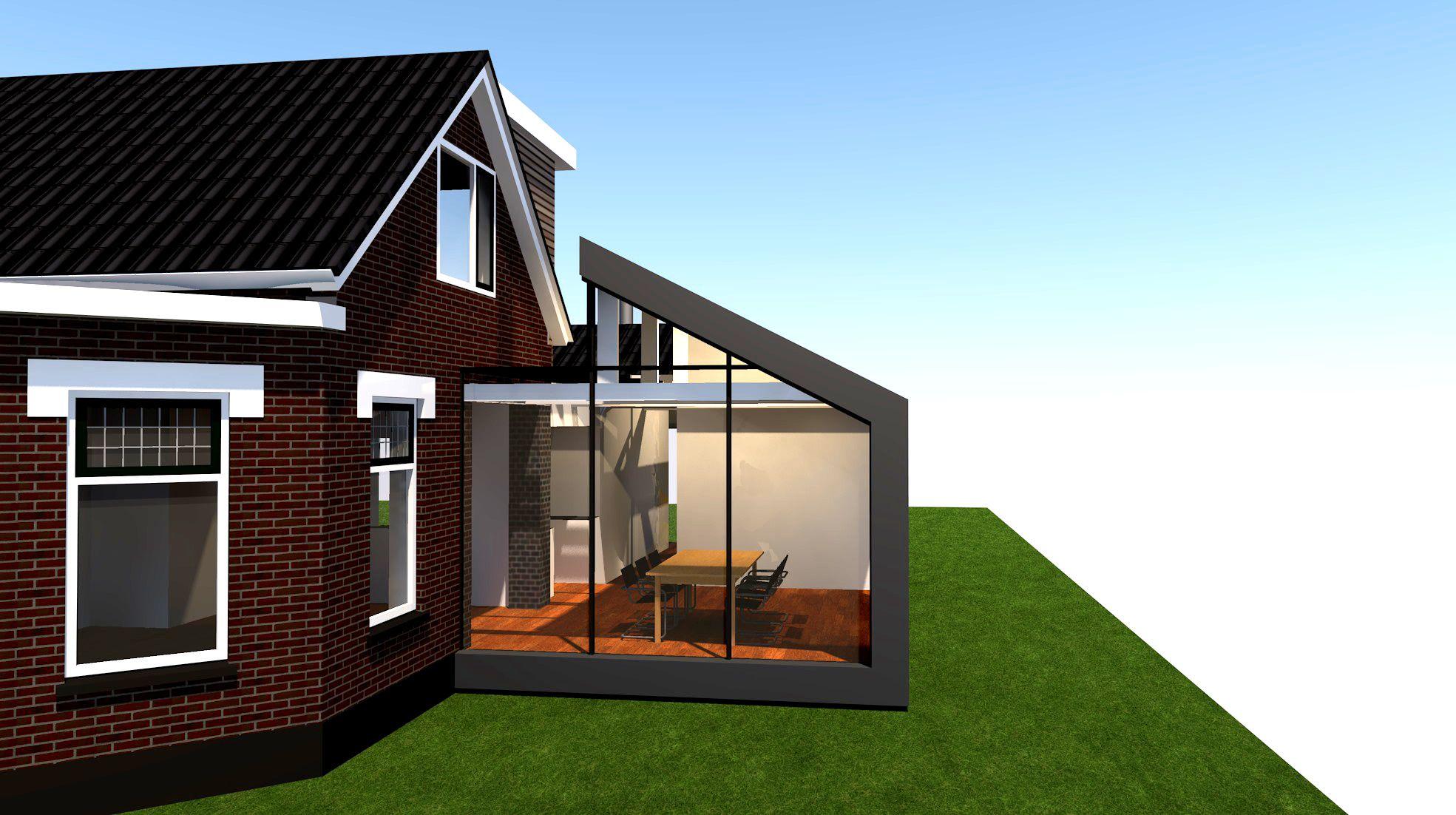 Aanbouw in glas aluminium en dakpannen aan deze 1900 woning met al