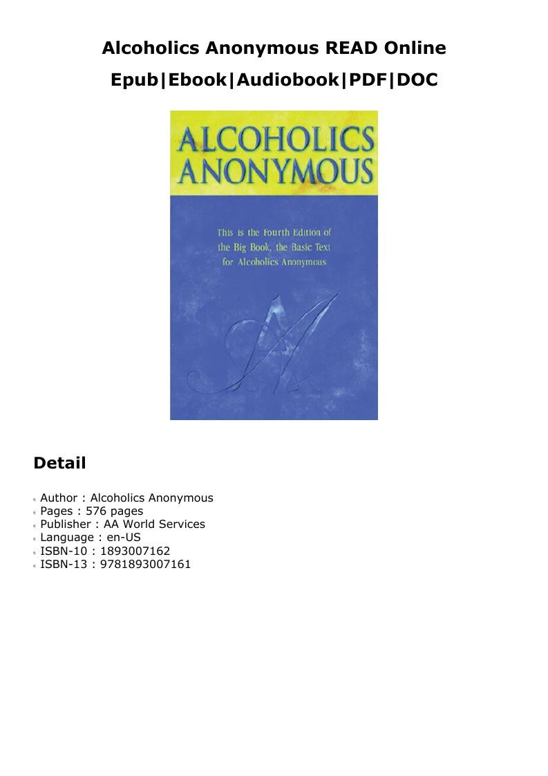 Alcoholics anonymous read online
