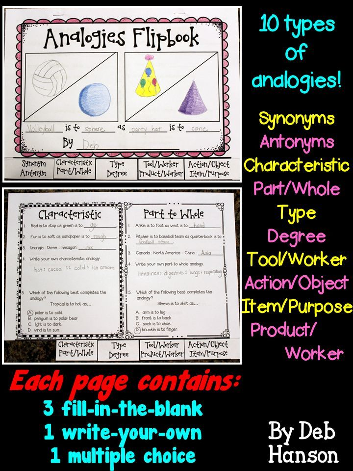 Analogies Flipbook Including 10 Types Of Analogies Common
