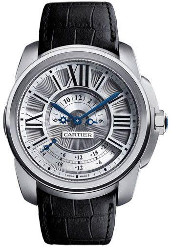 Calibre de Cartier Multiple Time Zone 18 kt White Gold Men's Watch