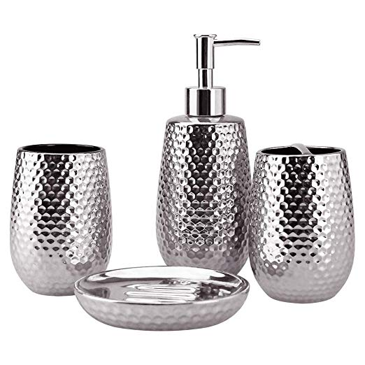 Amazon Com 4 Piece Ceramic Bathroom Accessories Set Moroccan Trellis Bathroom Ensemble Silver Bathroom Accessories Bathroom Accessories Sets Silver Bathroom