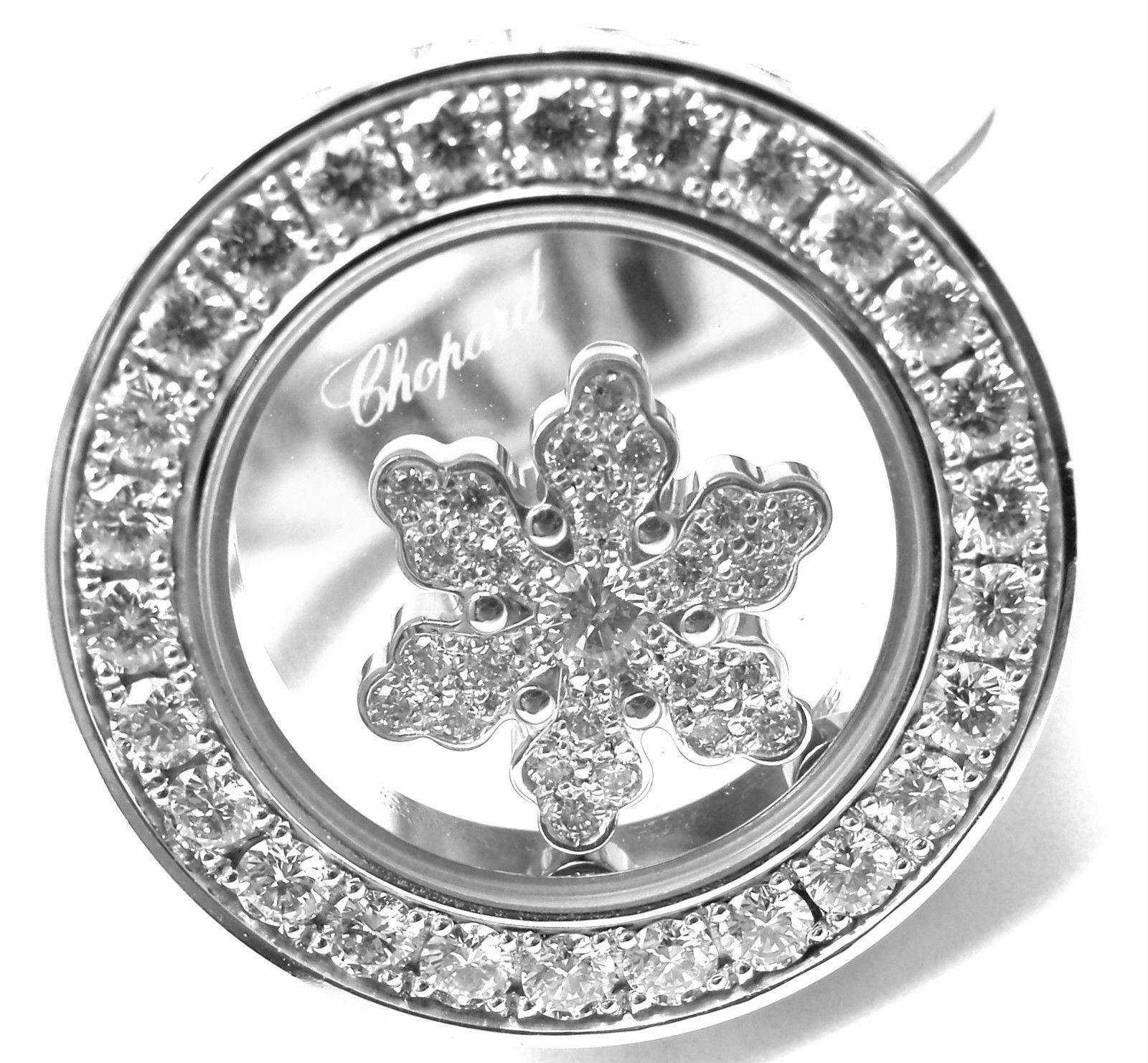 CHOPARD 18K WHITE GOLD HAPPY DIAMOND SNOWFLAKE RING