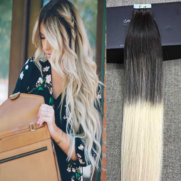 100 Remy Human Hair Tape In Hair Extensions Balayage Ombre